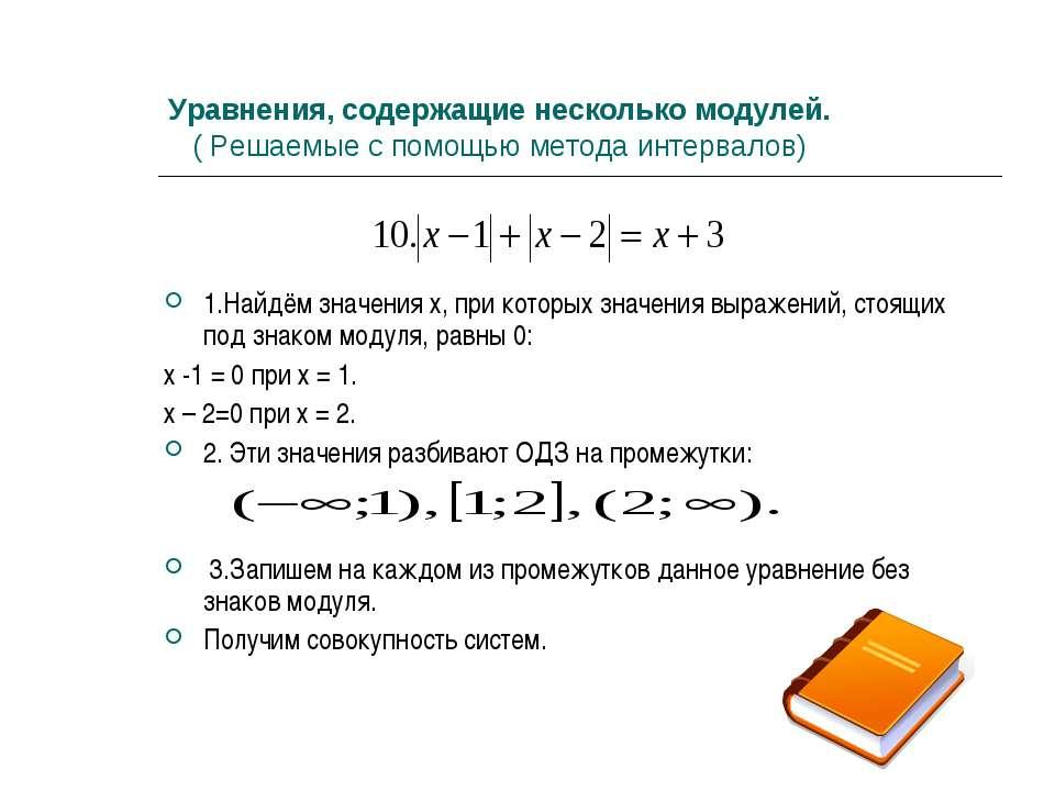 Подборка уравнений под знаком модуля к факультативу