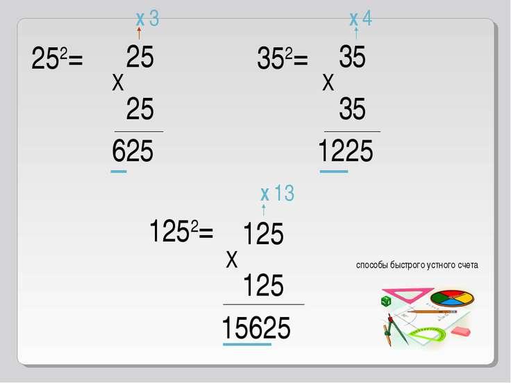 252= 25 X 25 625 X 3 352= 35 X 35 1225 X 4 1252= 125 X 125 15625 X 13 способы...