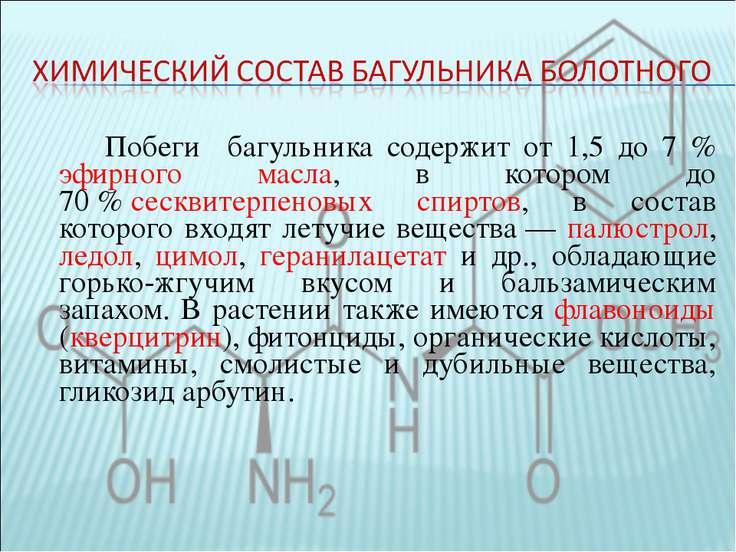 Побеги багульника содержит от 1,5 до 7 % эфирного масла, в котором до 70%се...