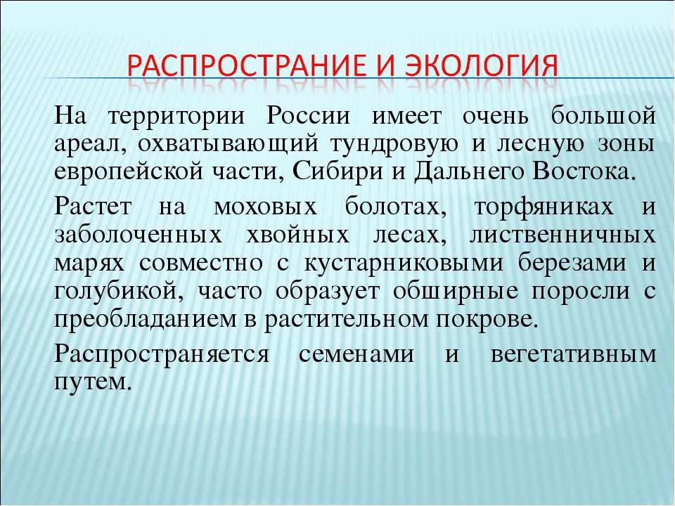 На территории России имеет очень большой ареал, охватывающий тундровую и лесн...