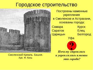 Городское строительство Построены каменные укрепления в Смоленске и Астрахани...