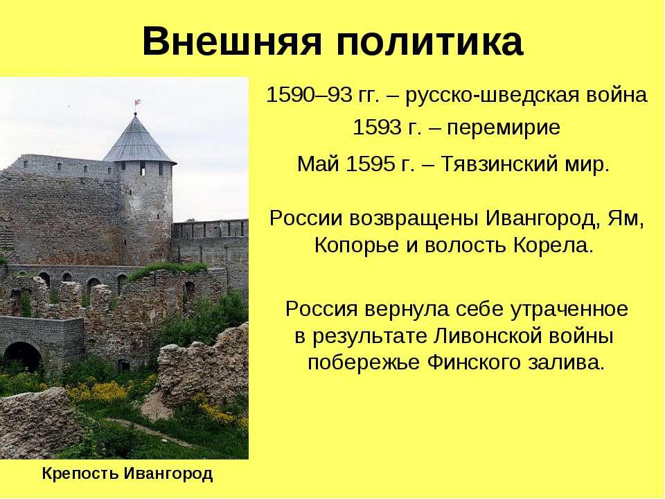 Внешняя политика 1590–93 гг. – русско-шведская война 1593 г. – перемирие Май ...