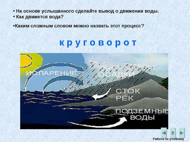 На основе услышанного сделайте вывод о движении воды. Как движется вода? Рабо...