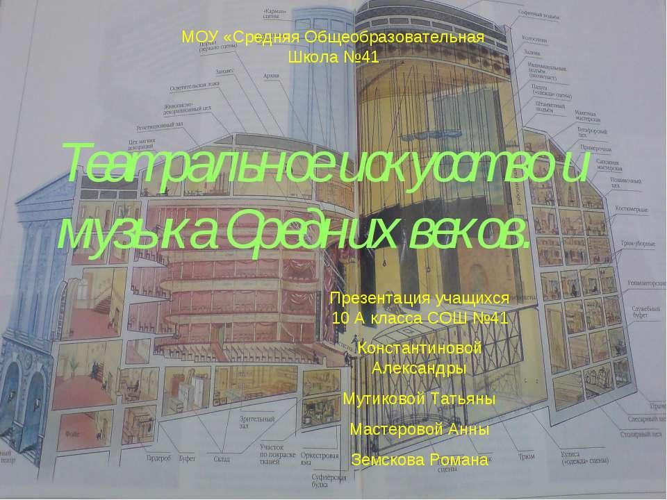 Театральное искусство и музыка Средних веков. МОУ «Средняя Общеобразовательна...