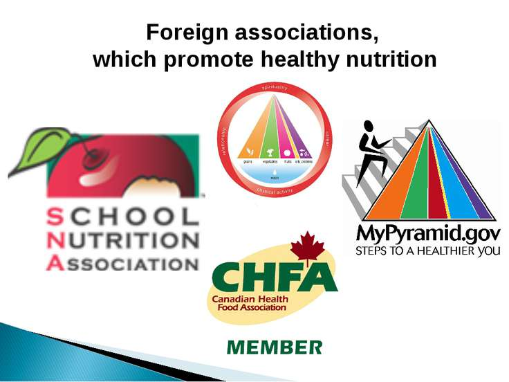 Foreign associations, which promote healthy nutrition