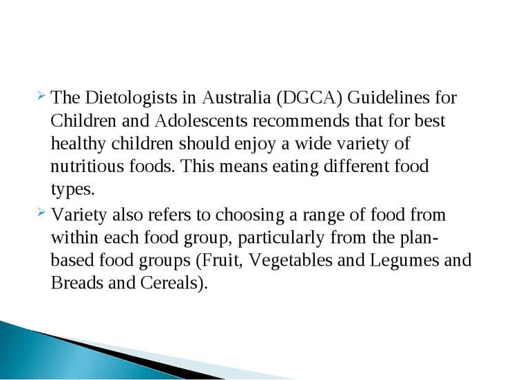 The Dietologists in Australia (DGCA) Guidelines for Children and Adolescents ...