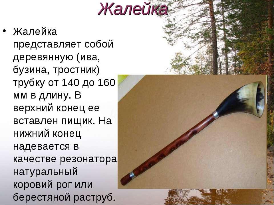 Жалейка Жалейка представляет собой деревянную (ива, бузина, тростник) трубку ...