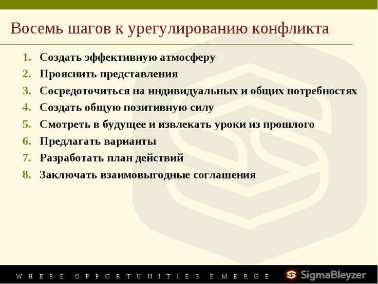 Восемь шагов к урегулированию конфликта Создать эффективную атмосферу Проясни...