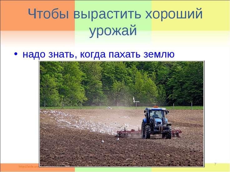 Чтобы вырастить хороший урожай надо знать, когда пахать землю *
