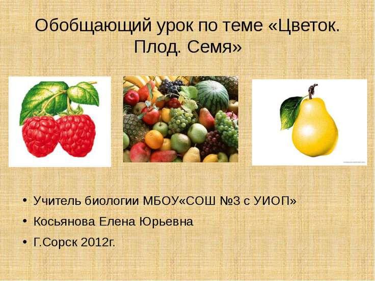 Обобщающий урок по теме «Цветок. Плод. Семя» Учитель биологии МБОУ«СОШ №3 с У...