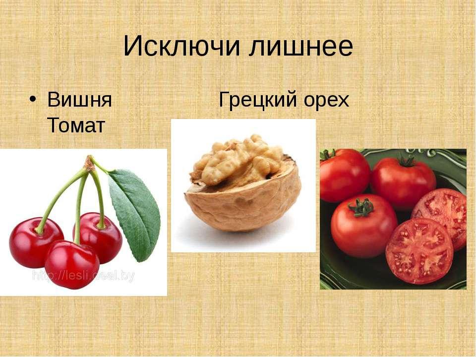 Исключи лишнее Вишня Грецкий орех Томат