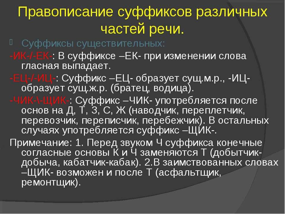 Правописание суффиксов различных частей речи. Суффиксы существительных: -ИК-/...