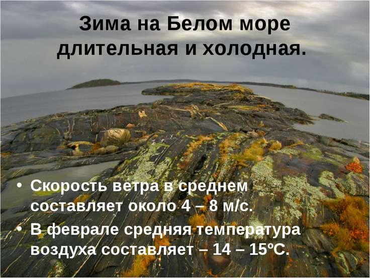 Зима на Белом море длительная и холодная. Скорость ветра в среднем составляет...