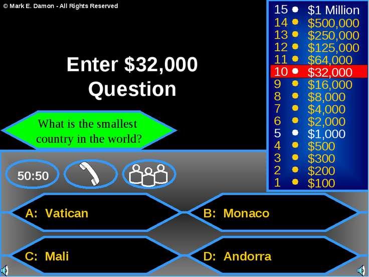 A: Vatican C: Mali B: Monaco D: Andorra 50:50 15 14 13 12 11 10 9 8 7 6 5 4 3...
