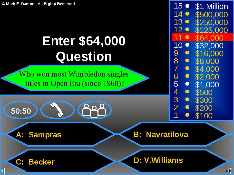 A: Sampras C: Becker B: Navratilova D: V.Williams 50:50 15 14 13 12 11 10 9 8...