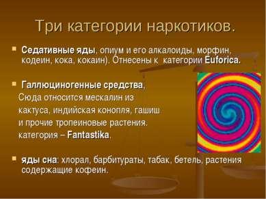 Три категории наркотиков. Седативные яды, опиум и его алкалоиды, морфин, коде...