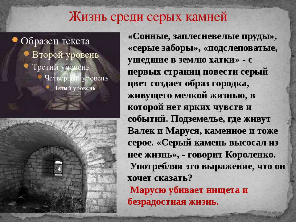 Жизнь среди серых камней «Сонные, заплесневелые пруды», «серые заборы», «подс...