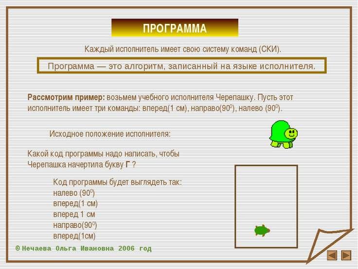 ПРОГРАММА © Нечаева Ольга Ивановна 2006 год Каждый исполнитель имеет свою сис...