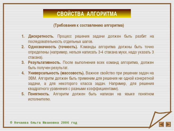 © Нечаева Ольга Ивановна 2006 год СВОЙСТВА АЛГОРИТМА (Требования к составлени...