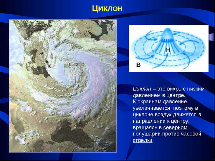 Циклон Циклон – это вихрь с низким давлением в центре. К окраинам давление ув...