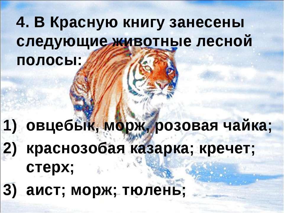 4. В Красную книгу занесены следующие животные лесной полосы: овцебык, морж, ...