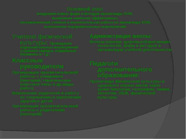 Основной этап: внедрение новых форм и методов пропаганды ЗОЖ, выявление наибо...