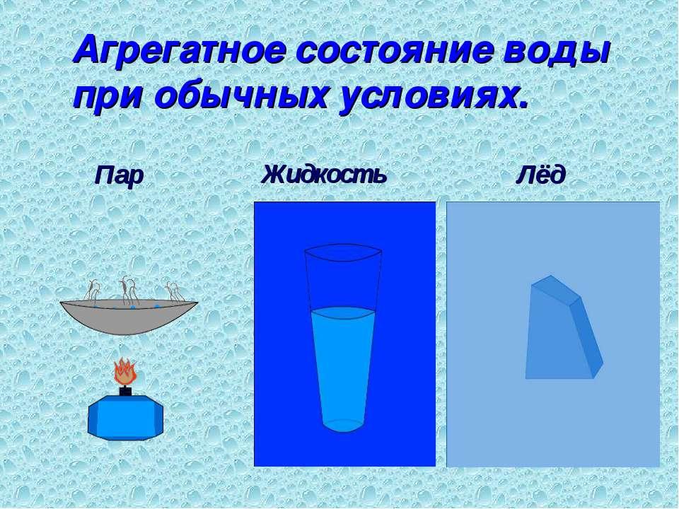 Агрегатное состояние воды при обычных условиях. Жидкость Лёд Пар