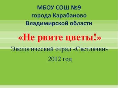 «Не рвите цветы!» Экологический отряд «Светлячки» 2012 год