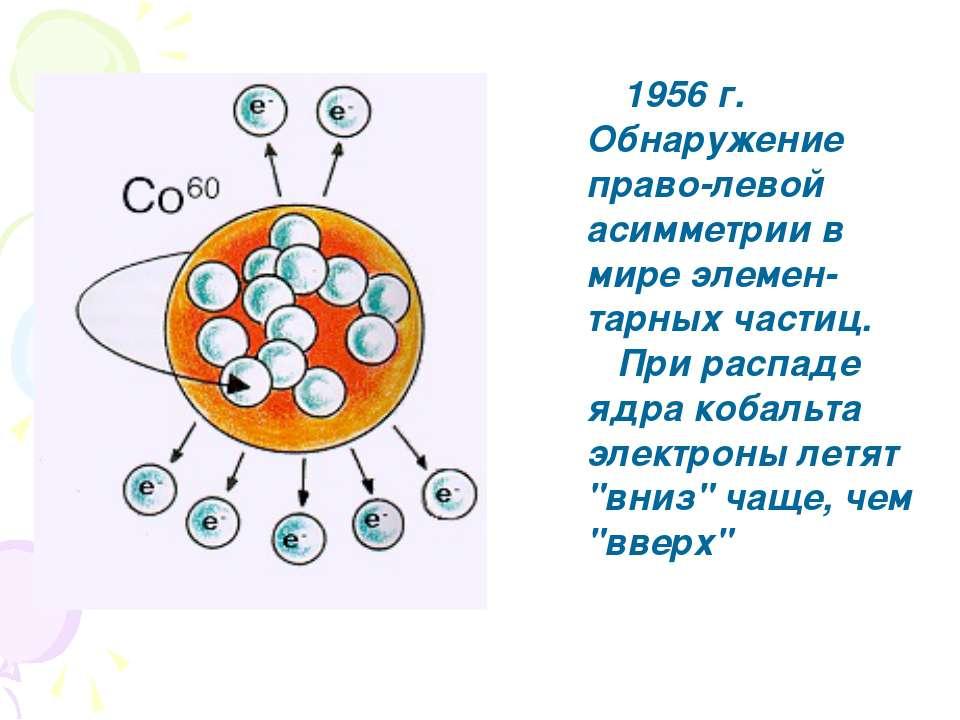 1956 г. Обнаружение право-левой асимметрии в мире элемен-тарных частиц. При р...