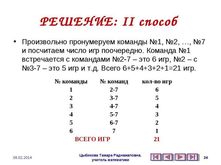 РЕШЕНИЕ: II способ Произвольно пронумеруем команды №1, №2, …, №7 и посчитаем ...