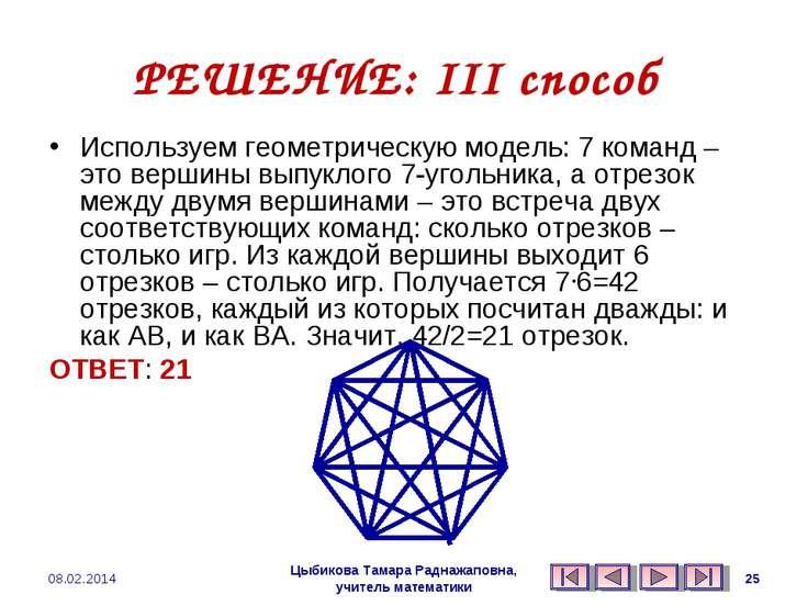 РЕШЕНИЕ: III способ Используем геометрическую модель: 7 команд – это вершины ...