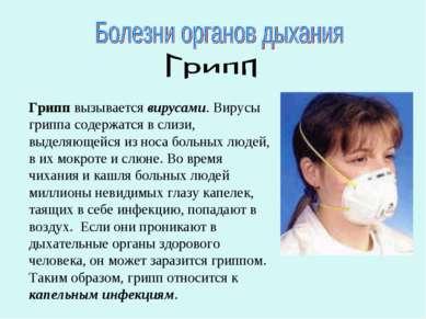 Грипп вызывается вирусами. Вирусы гриппа содержатся в слизи, выделяющейся из ...