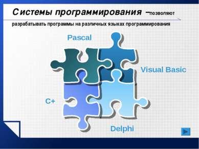 Системы программирования –позволяют разрабатывать программы на различных язык...