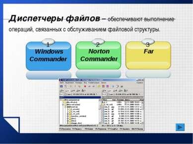 Диспетчеры файлов – обеспечивают выполнение операций, связанных с обслуживани...
