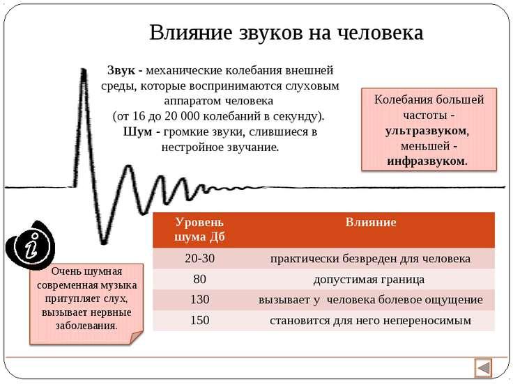 Влияние звуков на человека Звук - механические колебания внешней среды, котор...
