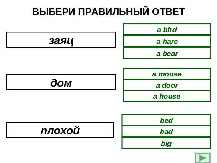 ВЫБЕРИ ПРАВИЛЬНЫЙ ОТВЕТ a bear a bird a hare a house a door a mouse bad bed b...