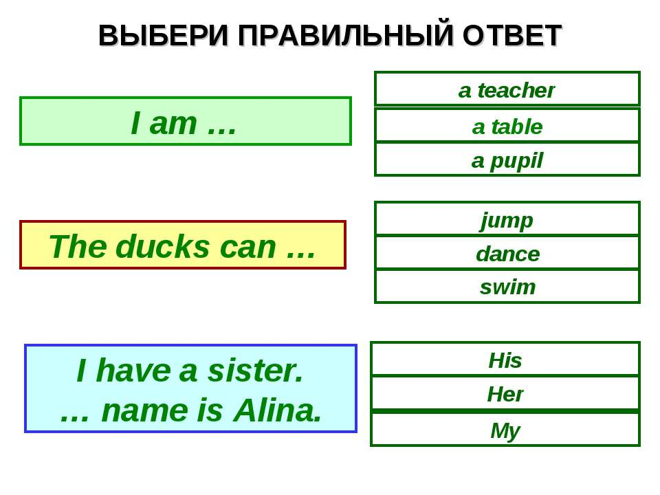 ВЫБЕРИ ПРАВИЛЬНЫЙ ОТВЕТ a table a teacher a pupil swim dance jump Her His My ...