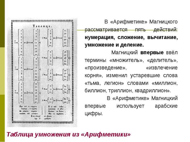 Таблица умножения из «Арифметики» В «Арифметике» Магницкого рассматривается п...
