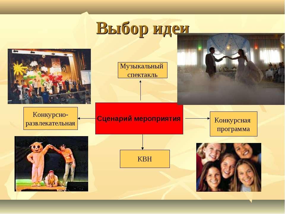 Выбор идеи Сценарий мероприятия Музыкальный спектакль КВН Конкурсно- развлека...