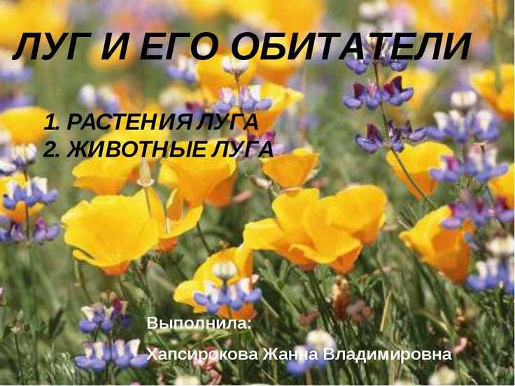 ЛУГ И ЕГО ОБИТАТЕЛИ 1. РАСТЕНИЯ ЛУГА 2. ЖИВОТНЫЕ ЛУГА Выполнила: Хапсирокова ...