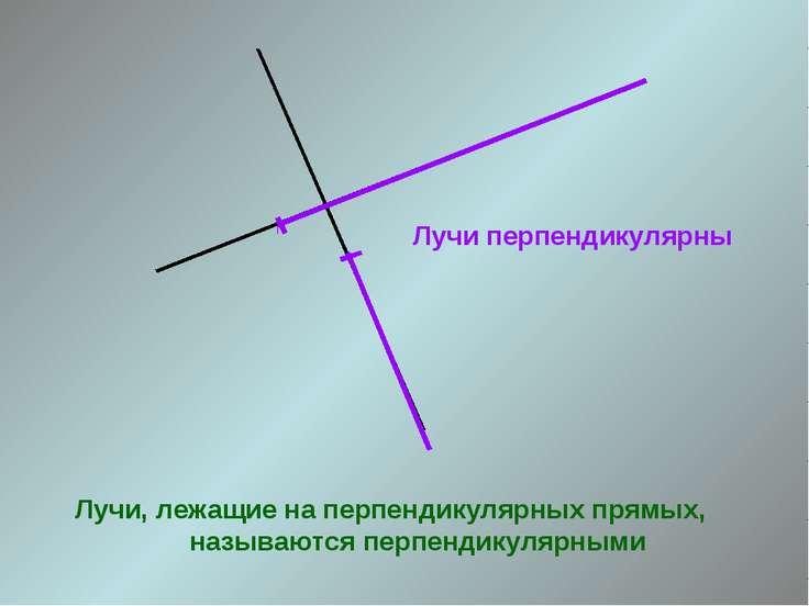 Лучи перпендикулярны Лучи, лежащие на перпендикулярных прямых, называются пер...