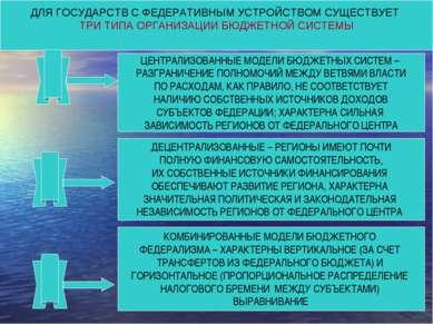 ДЛЯ ГОСУДАРСТВ С ФЕДЕРАТИВНЫМ УСТРОЙСТВОМ СУЩЕСТВУЕТ ТРИ ТИПА ОРГАНИЗАЦИИ БЮД...