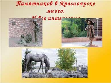 Памятников в Красноярске много. И все интересные