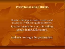 Presentation about Russia