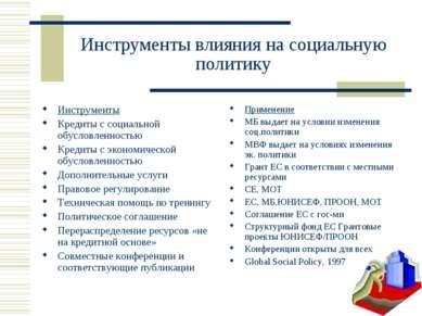 Инструменты влияния на социальную политику Инструменты Кредиты с социальной о...