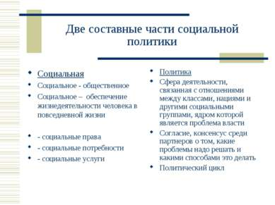 Две составные части социальной политики Социальная Социальное - общественное ...