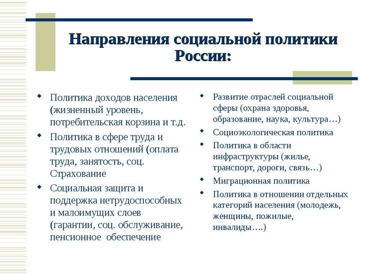 Направления социальной политики России: Политика доходов населения (жизненный...