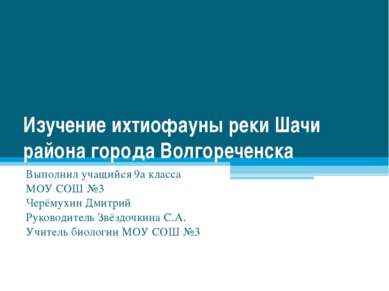 Изучение ихтиофауны реки Шачи района города Волгореченска Выполнил учащийся 9...