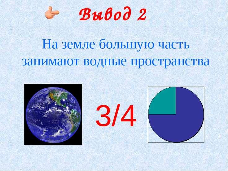 Вывод 2 На земле большую часть занимают водные пространства 3/4