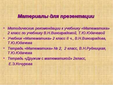 Материалы для презентации Методические рекомендации к учебнику «Математика» 2...